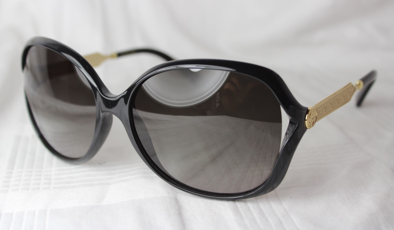 3d556bae2da Details about Gucci Sunglasses Gg 0076 002 New Black - Gold